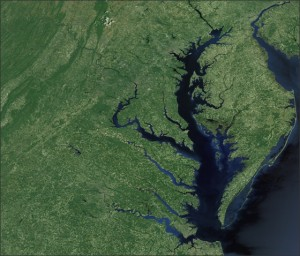 The Chesapeake Bay Watershed.  Landsat imagery courtesy of NASA Goddard Space Flight Center and U.S. Geological Survey.