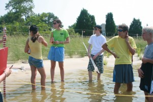 Students set up a transect to look at how sea level rise may effect coastal communities