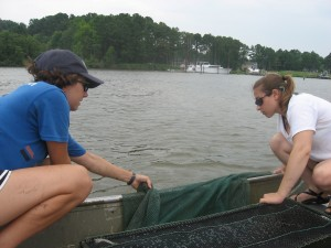 Brooke and Paige get ready to deploy the tow.