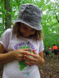 7-year-old Cecilia Bowers collects frogs in the SERC forest. (SERC)
