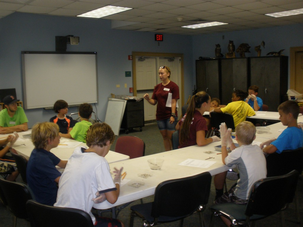 Education intern Lizzie DeRycke teaches campers about the swim bladder.