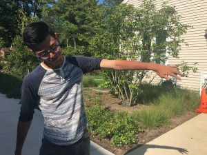 SERC intern Jefferson Riera shows off his sunburn.