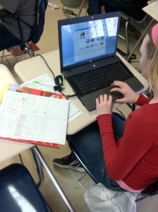 Student researching and creating their own science-related comic