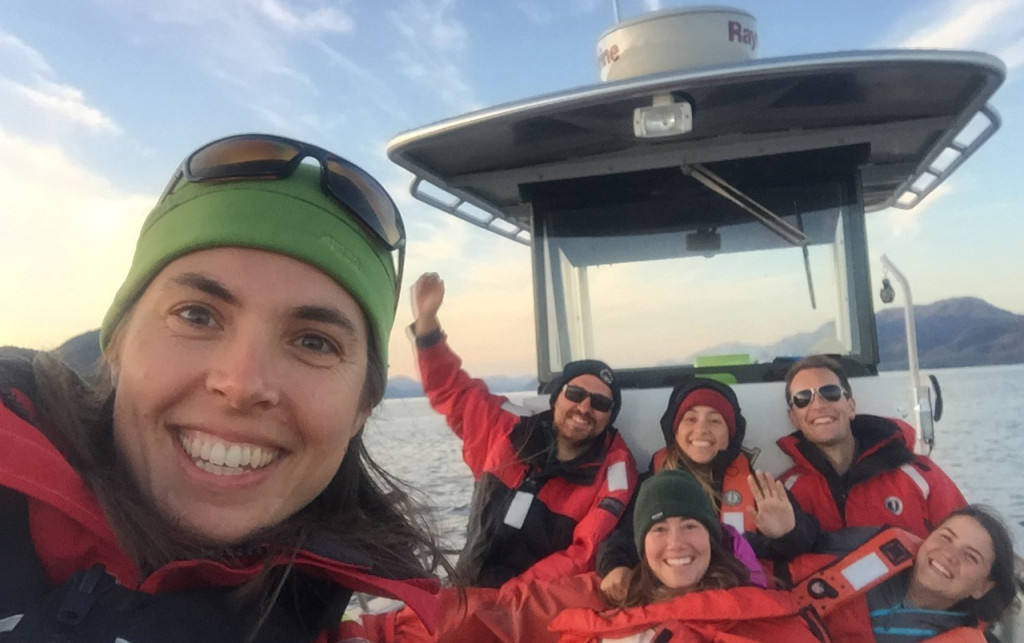 Hakai scientists selfie on boat