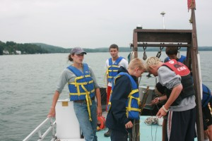 Students learning about the Biology of Otsego Lake