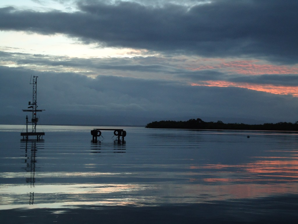 Sunset from the dock at the Bocas del Toro Marine Station, Smithsonian. (Katrina Lohan)