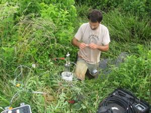 John Gardner from Horn Point Laboratory takes water samples