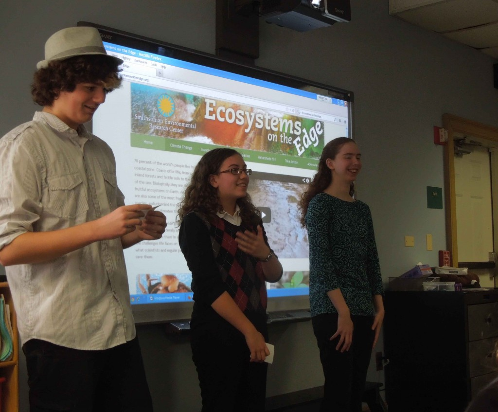 From left: SERC home-school students Joe Giardina, Molly Enriquez and Anne Marie Nolan at the student documentary film screening. (SERC)