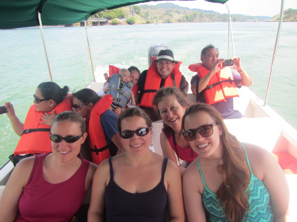 Cruising the Panama Canal. From left: Kristen Larson, Lina Cabellos, Linda McCann and Brianna Tracy.