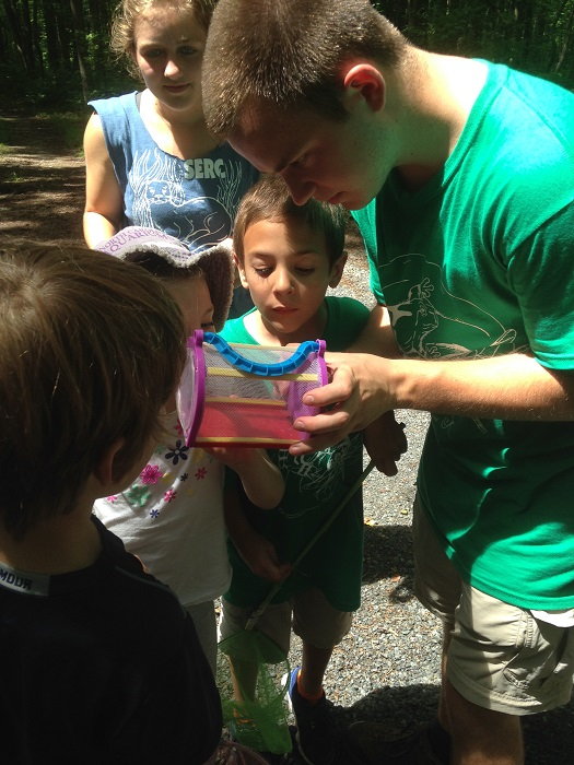 Intern Henry Lawson, a rising junior at Denison University, shows campers insects in a bug box.