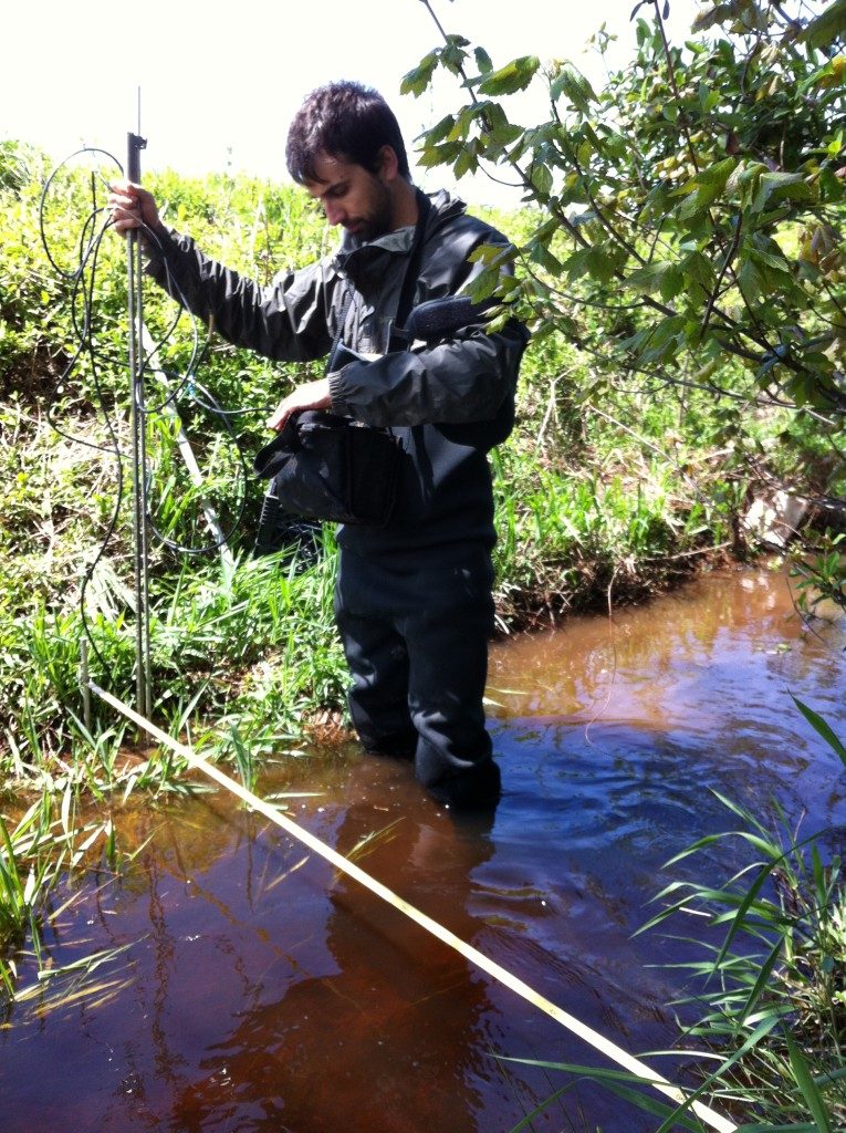 Graduate student John Gardner measures discharge in a stream in the Choptank. (courtesy of Tom Fisher Lab)