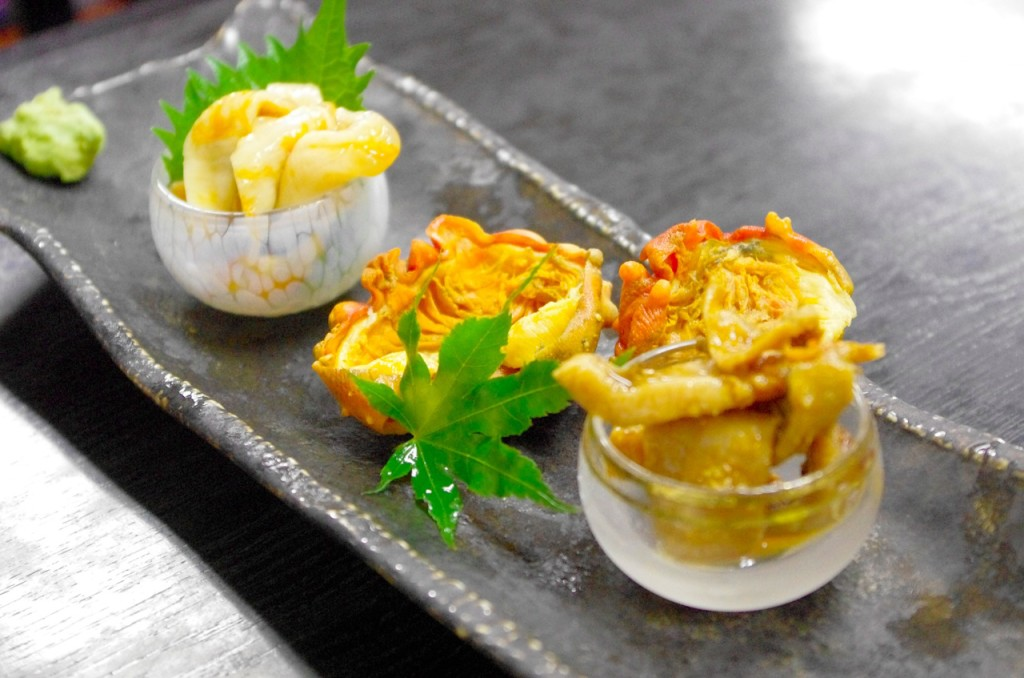 Three varieties of cooked ascidian in the Minami Sanriku shopping district, Japan