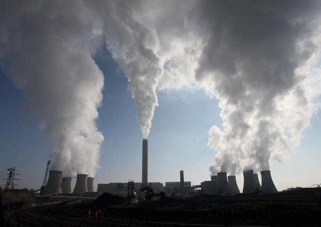 The Drax power station, a large coal-fired power station in North Yorkshire, England