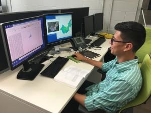 Intern Jefferson Riera analyzes marsh elevation data