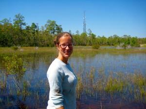 Scientist in wetland