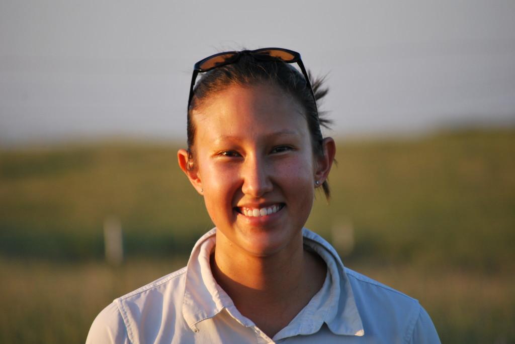 Close-up of Kim La Pierre in prairie