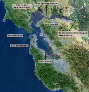 A satellite image of the San Fransisco Bay area with different bodies of water labeled.