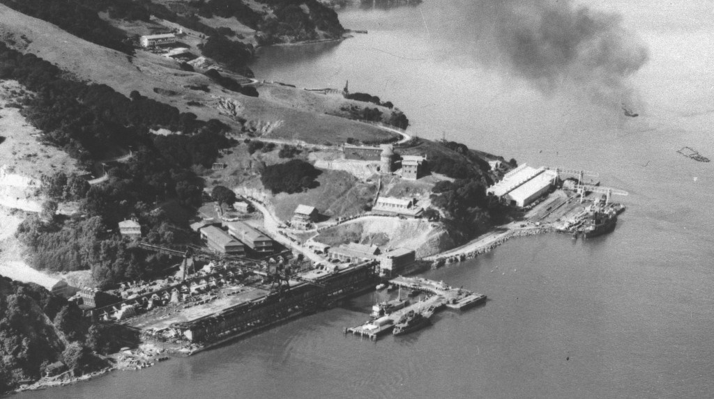 An aerial view of a cove with many buildings and a number of moored ships.
