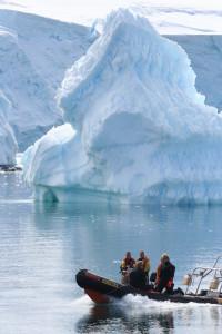 Morning commute in Antarctica. (Photo: Lloyd Peck)