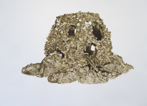 a round oyster reef with holes in it. brown paint on white paper.