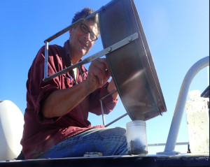 Scientist on boat
